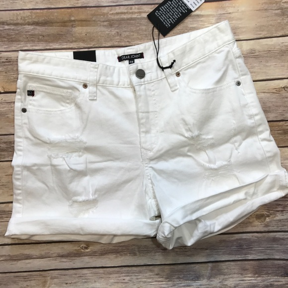Dear John Pants - Dear John Distressed White Lilie Shorts